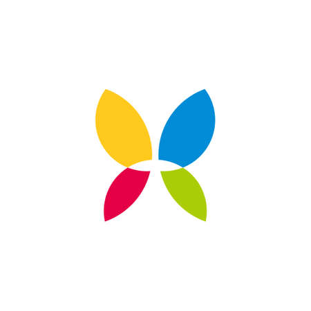 simple geometric butterfly symbol colorful logo vector Logo
