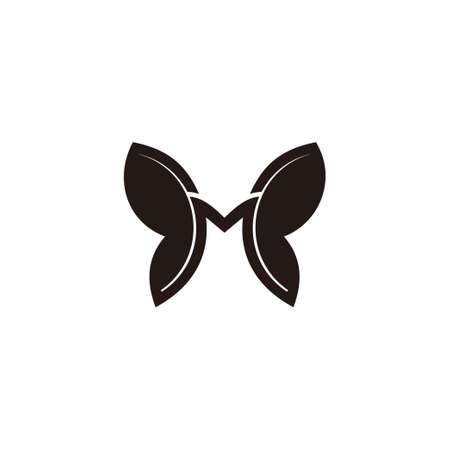 letter m butterfly symbol simple geometric logo vector