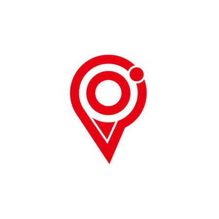 letter p circle pin location geometric simple logo vector Logo