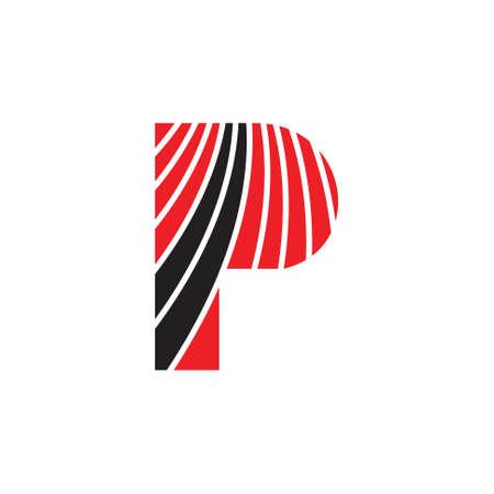 letter p stripes motion logo vector