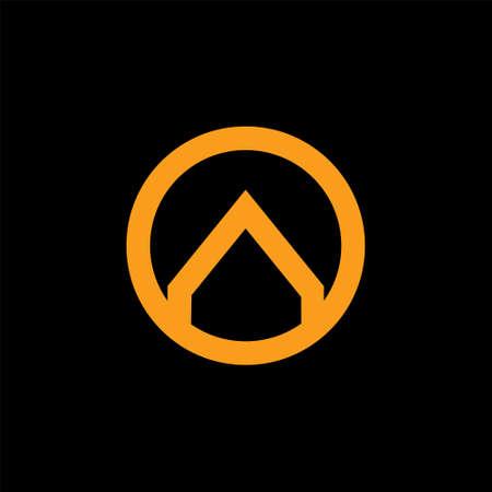 arrow circle linked ring gold logo vector