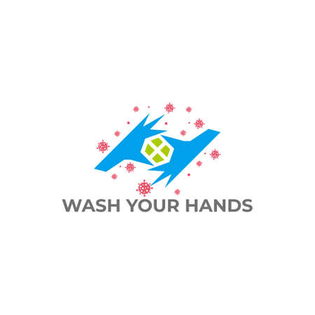 text wash your hand plus medical design symbol vector