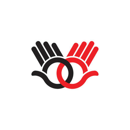 linked hand palm hi colorful symbol decoration vector