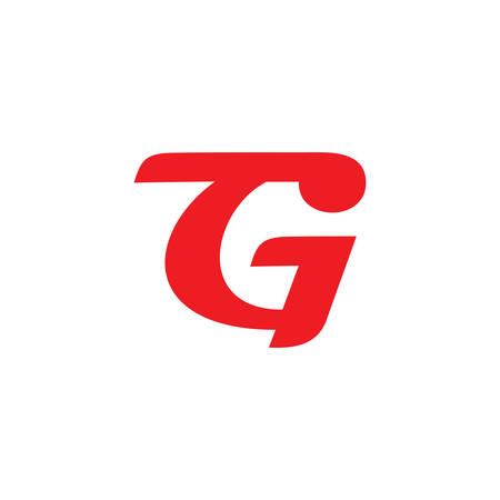 letter gt simple curves linked geometric symbol logo vector