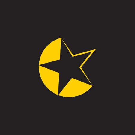 simple geometric moon star design logo vector