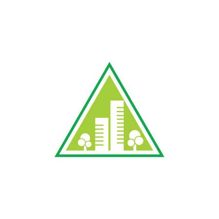 triangle green city symbol logo vector