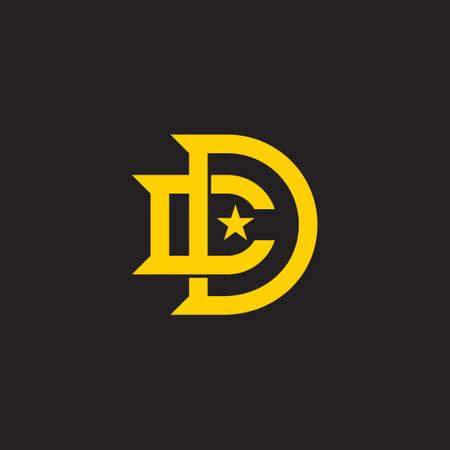 letter cd star simple geometric overlap logo vector