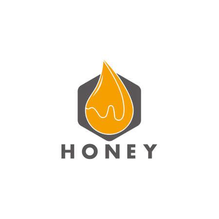 hexagonal honey liquid yellow design symbol logo vector