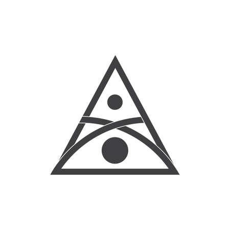 triangle line dots geometric simple logo vector