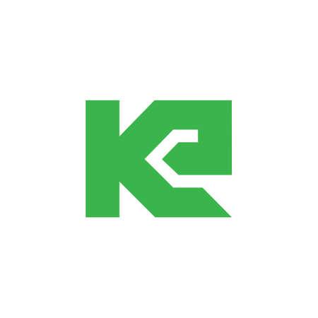 abstract letter ke simple geometric logo vector