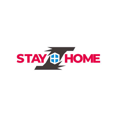 text stay home protected hand symbol decor vector
