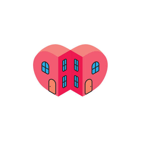 love heart home resident apartment design symbol vector