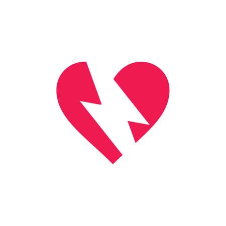 thunder flash love symbol brand logo vector