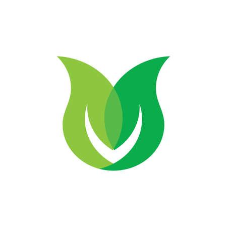linked leaf organic symbol logo vector Ilustrace