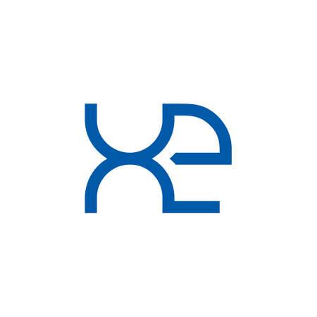 letter xe simple geometric line symbol logo vector
