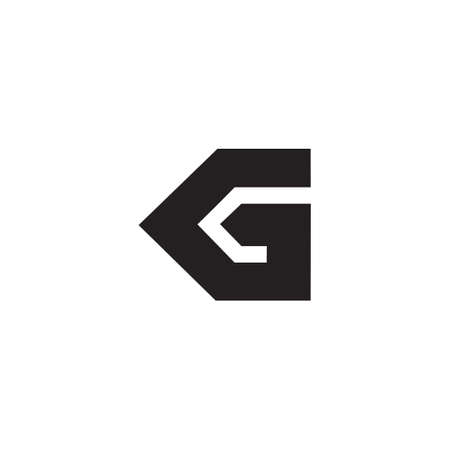 abstract letter kg simple geometric logo vector