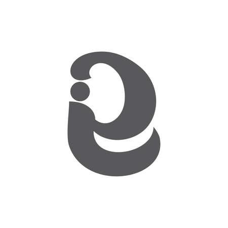 letter ie symbol linked curves logo vector Ilustrace