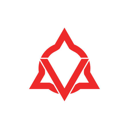 letter v circle triangle geometric line logo