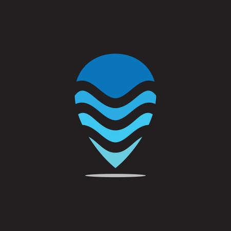 water waves pin location logo vector