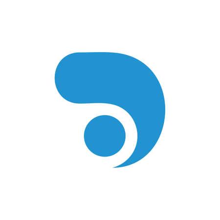 letter d simple curves dot motion logo vector