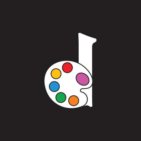 letter d color palette symbol vector Ilustrace