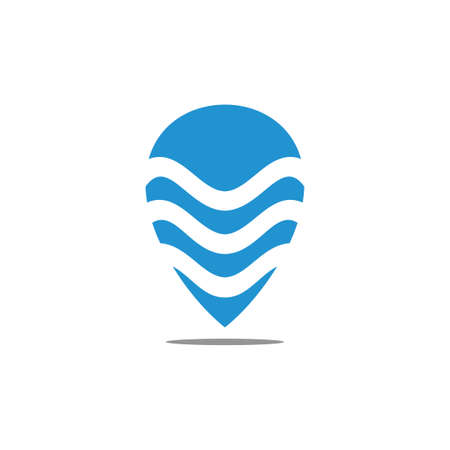 pin location waves stripes logo vector