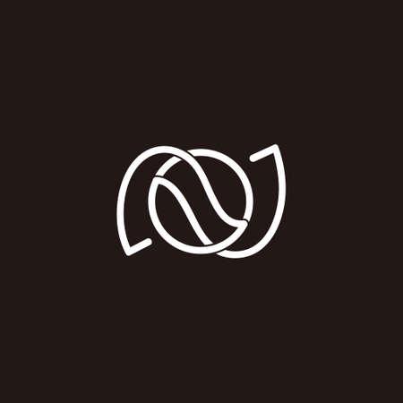 letter o overlap design circle geometric linear logo vector