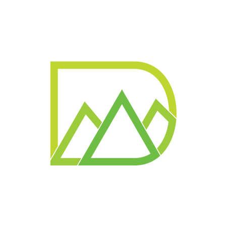 letter d green mountain gradient logo vector Ilustrace