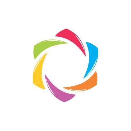 simple curves rotation colorful geometric logo vector