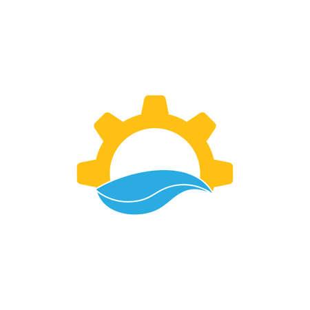sun and blue wavy cog wheels logo Ilustrace