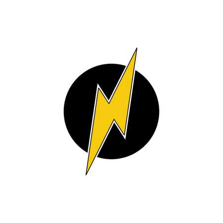 letter n thunder shape simple logo vector