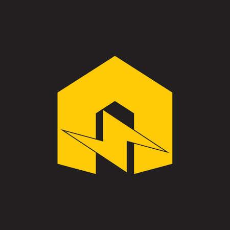letter n thunder shape simple geometric logo vector energy