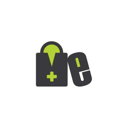 letter m shopping bag drugstore capsule symbol logo vector