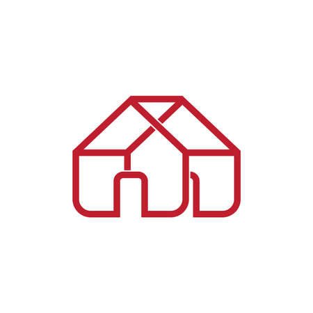 house construction overlapping line design vector