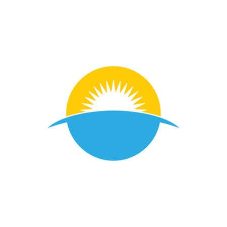 simple sea sunrise horizon symbol logo vector Ilustrace