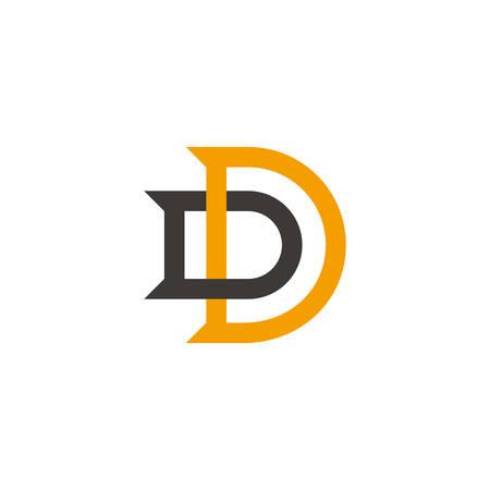letter dd simple colorful geometric overlap logo vector