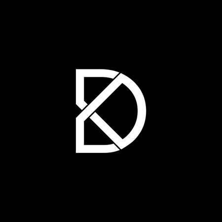 letter dk simple linked line logo vector
