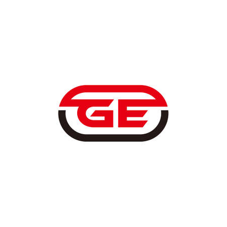 letter ge simple geometric line round shape symbol logo vector