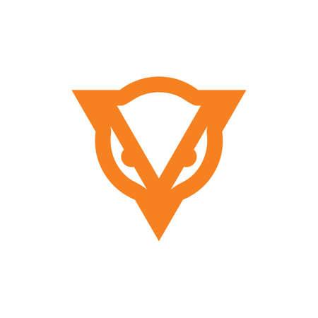 letter v geometric bird head simple logo Vectores