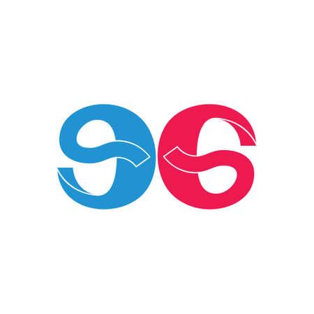 letter eg number 96 simple ribbon design vector