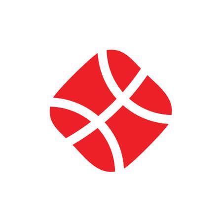 basket ball square geometric symbol logo vector