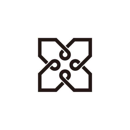 letter x square infinity line design logo vector
