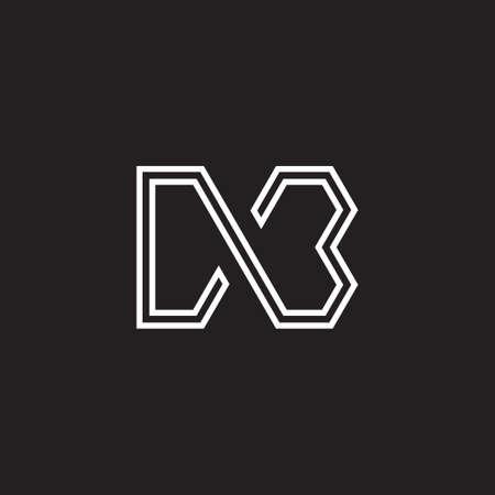 letter mb stripes geometric line symbol logo vector