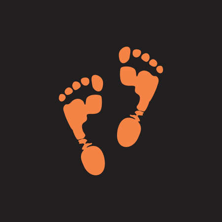 foot step print in mud symbol logo vector