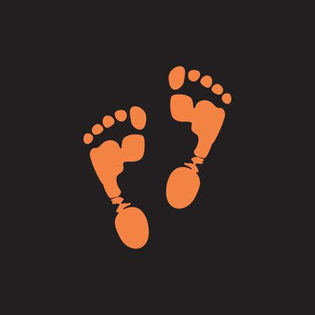 foot step print in mud symbol logo vector