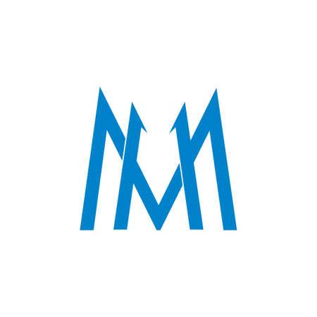 letter m simple geometric line logo vector Logo
