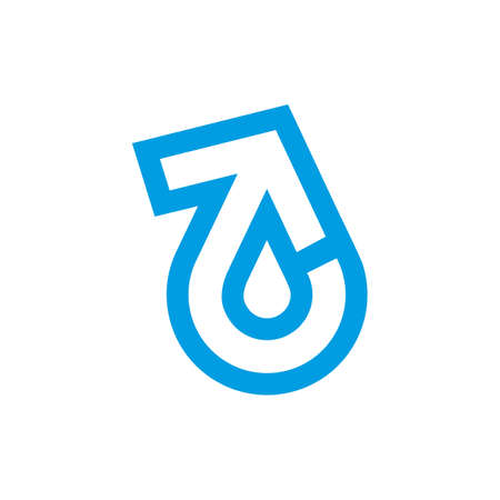 refresh arrow drop blue water simple logo vector