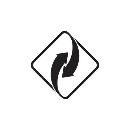 linked arrow square logo vector Illusztráció
