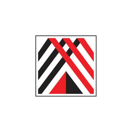 triangle mountain ribbon geometric logo vector