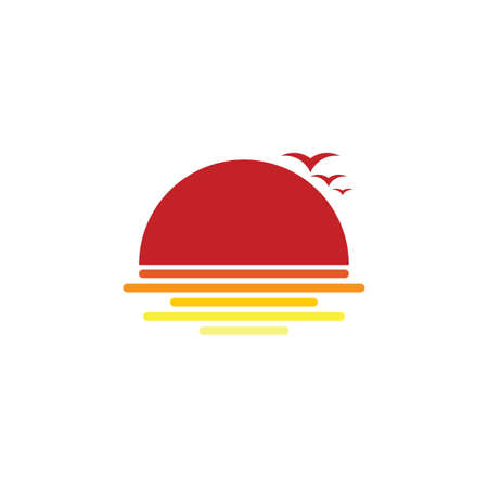sea bird stripes sunset logo vector